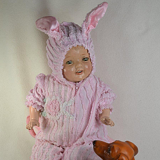 22 in. Composition Mama Doll in  Rabbit Costume with Ears, Blanket, Slippers