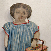 "c. 1900 Well-Worn ""Winnie"" Lithographed Doll in Blue Calico Dress"