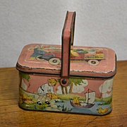 Tin Litho Easter Candy Pail Lunch Box, Rabbits, Chicks, Children Tindeco