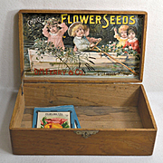 1893 D M Ferry Wood Seed Box with Scarce Chromolitho Label of Victorian Children in a Row Boat
