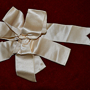 Victorian Cream Satin Bow (A) Excellent for Dolls