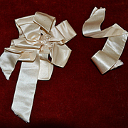 Victorian Cream Satin Bow (B) Excellent for Doll Clothing, Hats