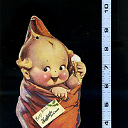 "1930's Rose O'Neill Kewpie in Christmas Stocking, Large Die Cut, 10"" Tall Advertises Hazelwood Ice Cream Co."