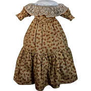 Vintage Dress of Brown & Ochre Calico Print, Off Shoulder Lace Neck, for China, Mache