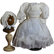 Antique Net Dress and Bonnet for Bisque Doll, Ruffled Yoke, Hem