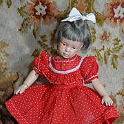 "Vintage Red Dot Cotton Dress for 16"" Doll, Bisque, Schoenhut, HP"