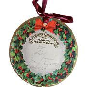1907 Large Die Cut Holly Berry Christmas Gift Tag, Red Silk Ribbon, Embossed #11
