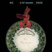 c 1907 Dennison Large Die Cut Holly Berry Christmas Gift Tag with Red Silk Ribbon #12