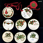 1912 Die Cut Christmas Tags, Holly Berry, Santa, Red Silk Ribbon #15