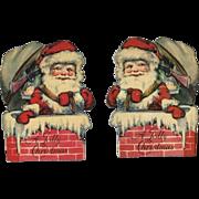 1930s Santa in Chimney Kringlette Die Cut Paper Christmas Ornament  #20