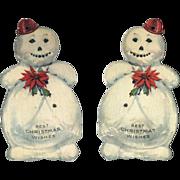 1930s Snowman Kringlette Die Cut Paper Christmas Ornament #22