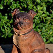 c.1890s Victorian Terracotta Pug Puppy Dog Wearing Bell Collar, 6.50 in. Original Paint