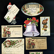 Early 1900s Christmas Gift Tags, Santa, Holly, Bell, Dennison