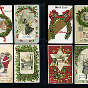 8 Vintage Christmas Postcards, Holly, Santa, Brundage, Winsch #10