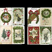 8 Vintage Christmas Postcards, Holly, Santa, Brundage, Winsch #10