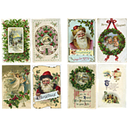 Vintage Christmas Postcards, Holly,  Santa #11
