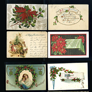 8 Vintage Christmas Postcards, Holly, Children #12