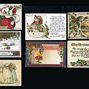 Group of 7 Vintage Christmas Postcards, Snowbabies, Santa, Holly #12