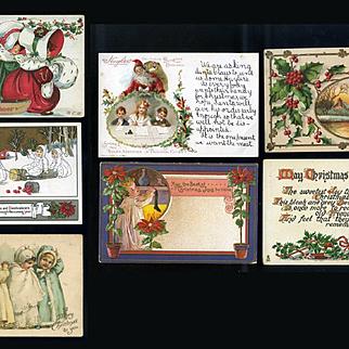 Group of 7 Vintage Christmas Postcards, Snowbabies, Santa, Holly #12
