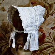 White Cotton Sunbonnet with Cording & Ruching, Mostly Hand Sewn, Fits 14-15 in. Head