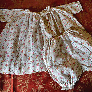 1930's Vintage Pink Flower Dress & Matching Bloomers, Large Doll / Baby
