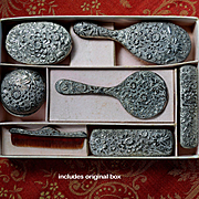 Early 1900's Ornate Silver Metal Brush, Comb, Vanity Set for Dolls in Original Box