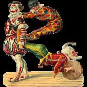 Victorian Die Cut, Embossed Funky Clowns, Harlequin, Unusual #208