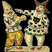 Victorian Die Cut Clowns, Fun Costumes, Black Cat Design, Circus Theme, Scarce, Larger Size #210