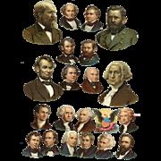 Patriotic President's Heads, Victorian Die Cuts, 2 Sizes  #226