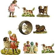 Children with Pet Dogs, Victorian Die Cuts #229