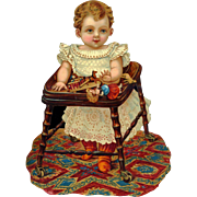 Toddler Child in a Victorian Walker with Toys, Large Embossed Die Cut #259