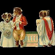 Anthropomorphic Dogs as Priest, Bride and Groom Victorian Die Cut #262