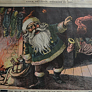 "1901 Large Newspaper Political Illustration, Santa Claus in Green Jacket, Throws ""Red"" Stockings #266"
