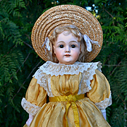 Final Sale -- Butter Yellow Antique Silk Doll Dress with Cream Lace, Very Good Condition