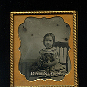 c.1860 Girl and Puppy Dog Ambrotype Photo, Uncommon Image
