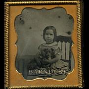 c.1860 Girl and Puppy Dog Ambrotype Photo, Uncommon Image
