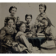 Half Plate Tintype, Group Well-Dressed Young Ladies, The Sweet and Sour Sisters Soiree 1880's