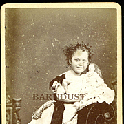 1870s CDV Photo Smiling Grace Helen Badham Has Wild Hair and Fashion Doll