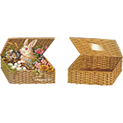 Victorian Die Cut Rabbit with Eggs in A Basket, Folding Card