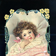 Sweet Face Child with Red Curly Hair, Large Victorian Die Cut from French Album