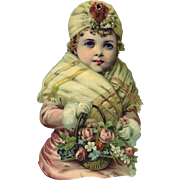 "Large 11"" Winter Girl with Basket of Roses Victorian Die Cut"