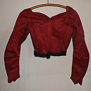 Antique Silk Satin Bodice, Rich Garnet Red Color, Excellent Condition, Use for Doll Costuming