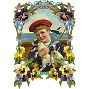 """Large 11"""" Sailor Boy Holding Puppies Victorian Die Cut, Pansy Flower Frame, from French Scrapbook"""