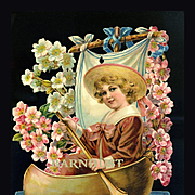 Large Victorian Die Cut, Boy in Pink  Sailor Suit in Boat Draped with Pink Flowers, From French Scrapbook