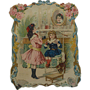 """Large 12"""" Victorian French Die  Cut, Children Play in Perfume, Cute Cat, Flowers, Louis Boulanger"""