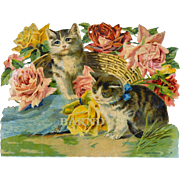 Large Victorian Die Cut, Kittens and Roses, From French Scrapbook