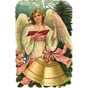Large Victorian Die Cut of Christmas Angel with Bells