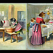 c1900 Three Kittens Washing Mittens, Mama Serving Dinner, Double Sided Large Linen Book Page