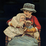 c1890s Victorian Cut Out, Puppy Frowns in as Confused Baby Chews on Dog Ear, Cute!