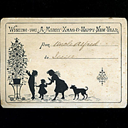 1890s Christmas Card, Silhouette Children Decorating Tree